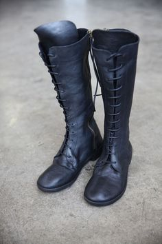 Tall Black Leather Boots by Nutsa Modebadze, available at www.cendre.ca