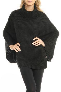 Black Draped Sweater Poncho:
