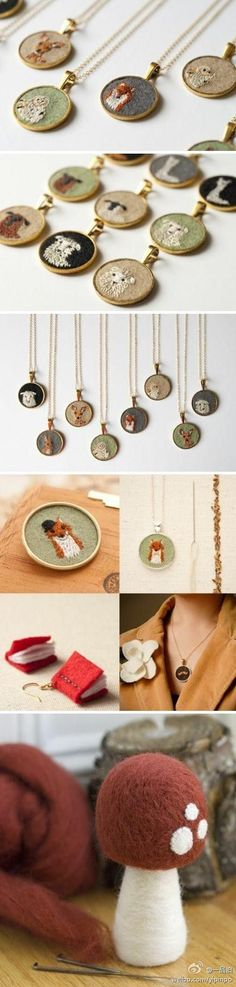 Textile jewelry. Imagine all of the possibilities!                                                                                                                                                                                 More