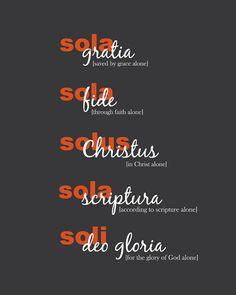 The Five Solas Art Print  Reformation Art  by SlightlySprightly, $16.00