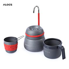 ALOCS CW - EM01 Outdoor 350ml Portable Coffee Stove Aluminum Alloy Camping Hiking Gray Coffee Maker Pot With 2 Cups Coffee Tools