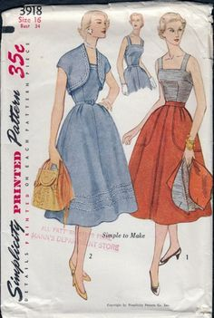 Vintage 1950s Flared Skirt, Blouse, Bolero Jacket, Simplicity 3918 | PenelopeRose - Supplies on ArtFire