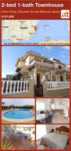 Townhouse for Sale in Cabo Roig, Alicante (Costa Blanca), Spain with 2 bedrooms, 1 bathroom - A Spanish Life Side Garden, Murcia, Alicante, How To Level Ground, Seville, Malaga, Open Plan, Cabo, Townhouse