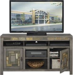 Bartlett II Gray 60 in. Console .499.99. 60W x 16.5D x 32H. Find affordable Home Entertainment for your home that will complement the rest of your furniture.  #iSofa #roomstogo