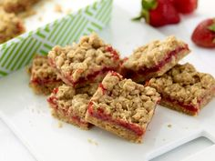 Strawberry Oatmeal BarsIngredients    1 3/4 sticks salted butter, cut into pieces, plus more for greasing pan  1 1/2 cups all-purpose flour  1 1/2 cup oats  1 cup packed brown sugar  1 teaspoon baking powder  1/2 teaspoon salt  One 10 to 12-ounce jar strawberry preserves