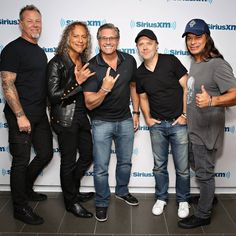Metallica pictured with photographer Kevin Mazur at SiriusXM Studios in New York, NY, USA - September 26, 2016 ©  Kevin Mazur