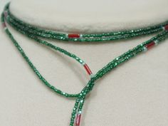 Swarovski Crystals, glass seed bead lariat necklace, green, red, L10. $ 52.00, via Etsy.