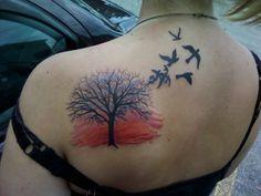 Sunset and tree back tattoo, Sunset tattoos Sunset Tattoos, God Tattoos, Tattoos For Guys, Tattoos For Women, Tatoos, Color Tattoos, Tree Tattoo Back, Silver Tattoo, Tattoo Designs