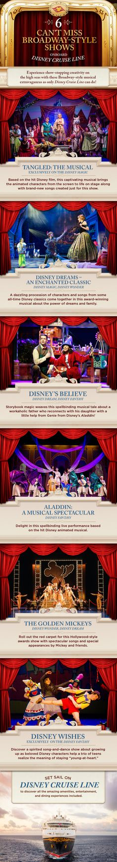 Experience show-stopping creativity on the high seas with these Broadway-style musical extravaganzas as only Disney Cruise Line can do! Click to learn more about our entertainment and live show offerings.