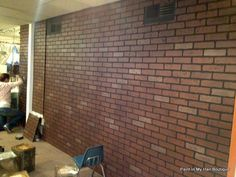 faux brick paneling from Lowes... hmmmm.
