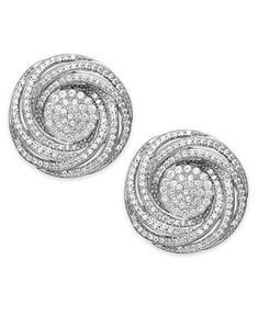 Wrapped In Love™ Diamond Pave Knot Stud Earrings in Sterling Silver (1 ct. t.w.) - Earrings - Jewelry & Watches - Macy's
