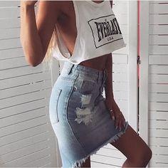 2016 джинсовые юбки женщин летом высокая талия джинсовые юбки джинсы женский отверстие разорвал короткая юбка карандаш юбки для женщин