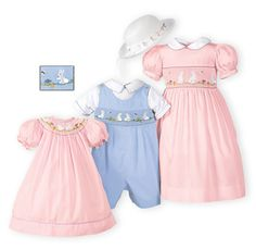 b03856dee Pink and blue bunny brother-sister outfits with adorable hand-smocked bunny  motif are · Toddler Girl Easter ...