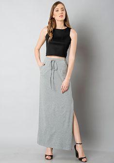 14e11a357de Side Slit Maxi Skirt - Grey  Fashion  FabAlley  LatestClothing  MaxiSkirt   PartyWear