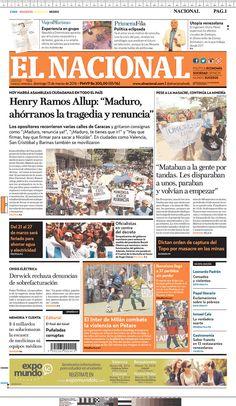 #20160313 #VENEZUELA #CARACAS Domingo 13 MAR 2016 #ELNACIONALdiarioCARACAS http://www.newseum.org/todaysfrontpages/?tfp_show=80&tfp_page=7&tfp_id=VEN_EN