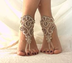 fawn laceBarefoot Sandals french lace Nude shoes by byPassion Foot Jewelry Wedding, Beach Foot Jewelry, Beach Wedding Sandals, Beach Shoes, Beach Weddings, Beach Sandals, Bare Foot Sandals, Lace Up Sandals, Shoes Sandals