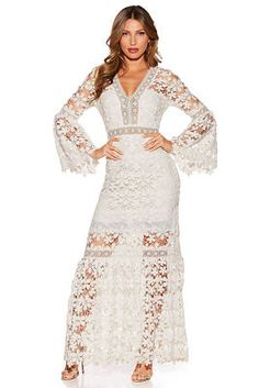 Let your sexy style show through this floral lace v neck maxi dress with peekaboo details and long bell sleeves. Slip on a pair of stilettos and you're ready to party the nigh