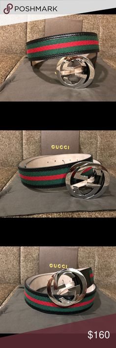 Authentic Men Gucci Belt Black Green Red Hi🌲🌲🌲🌲It's the holidays, Christmas time means great gifts, You're looking at an Authentic Gucci Belt! This item is made in Italy and is a great quality belt.   Order it before 3:30PM EST and it'll be priority shipped to you the same day!! 📦    Any questions about sizing please comment below.   Any other questions please feel free to ask away! Happy holidays 🌲🌲 More items bundled ?  More money saved ! 💰 Gucci Accessories Belts