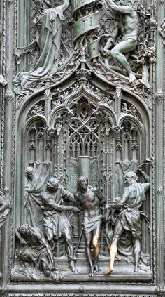 Milan Cathedral. Detail from main bronze gate - flagellation of Christ - Pogliaghi 1906