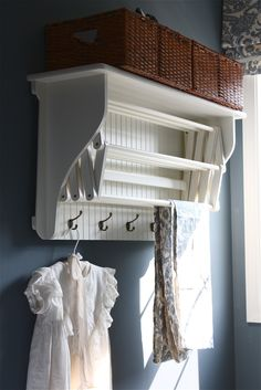 Laundry Drying Rack with Shelf & Hooks - from The Yellow Cape Cod: Laundry Room Makeover {Product Source List} Basement Laundry, Laundry Closet, Small Laundry Rooms, Laundry Room Organization, Laundry Room Design, Laundry Area, Laundry Tips, Vintage Laundry Rooms, Laundry Decor
