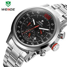 Cheap watch tv mobile phone, Buy Quality watch strap stainless steel directly from China watch men Suppliers: WEIDE brand watch mens military Japan quartz watches complete calendar full steel watch 30m water resistant diving clock