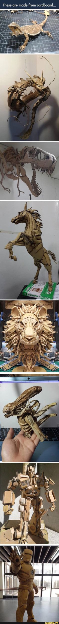 Awesome cardboard art I like it alot I can do that but simple things lmao yes I know freakin'Picasso