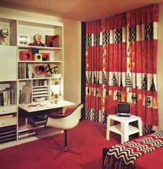 More retro! 70s Bedroom, Retro Bedrooms, 1970s Decor, Vintage Decor, Living Room Decor, Bedroom Decor, Vanity Desk, Family Room Decorating, Office Workspace