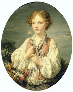 Jean-Baptiste Greuze, (1725–1805) Young Shepherd Holding a Flower (a dandelion and pensively making a wish for his love to be reciprocated) Petit Palais, Paris, 1761.