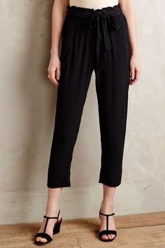 Tapered Paperbag Trousers - anthropologie.com