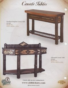 Old Hickory Adirondack & Woodland Console Tables