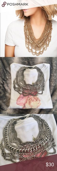 BaubleBar Statement Necklace Never worn! In great condition! No tarnishing! Detailed and up close pictures above, please note the discoloration of metal! Cover photo is to show the necklace styled, the piece for sale is silver! BaubleBar Jewelry Necklaces