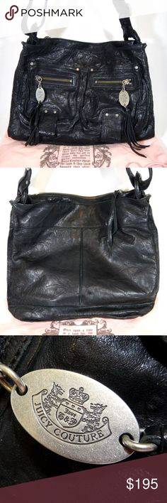 """Juicy Couture Downtown It Girl Rebel Messenger Bag Juicy Couture Downtown It Girl Rebel Messenger Bag / Crossbody Bag - Crushed Leather Style  - Gunmetal Hardware  - 100% Lamb Leather - Lining: 80% Polyester / 20% Cotton - RN52002 / CA16396 - Style: Messenger / Crossbody Bag - Measurements: Approx: 15""""L x 15""""H x 4""""W - Imported - MSRP: $265 - Pre-owned but unused! Comes with dust bag.  - Note: the white line in the interior photo is NOT a stain or damage. It's exposed threading from the…"""