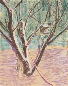 """Peter Doig, Birdhouse, 1995, pastel on paper, 10""""x 8"""" - Found on christies.com"""
