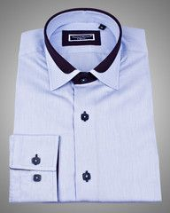 Designer shirts - Lyon milleret blue Just at $99    100% Cotton, Made in Europe, Single button cuffs with two buttons each, designer slim fit dress shirt with unique details and double collar by Franck Michel .