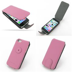 PDair Ultra Thin Leather Case for Apple iPhone 5c - Flip Type (Petal Pink)