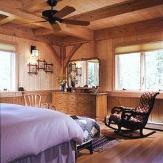 Timber frame home bedroom. Nice ceiling & corner detail