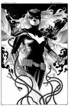 Batwoman 17 cover- black and white by JH Williams III, via Flickr