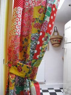 Patchwork Kitchen Curtains   To make the curtain, I used some vintage and modern printed cottons ...