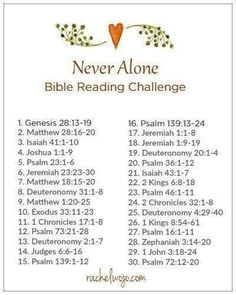 Never alone Bible reading plan Bible Study Plans, Bible Plan, Bible Study Tips, Bible Study Journal, Daily Bible Reading Plan, Bible Prayers, Bible Scriptures, Bible Quotes, Prayer Verses