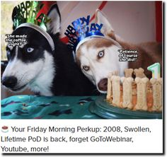 ☕ Your Friday Morning Perkup: 2008, Swollen, Lifetime PoD is back, forget GoToWebinar, Youtube, more!