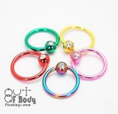 Titanium Anodised Mixed Colour Captive Bead Ring / Crystal Ball