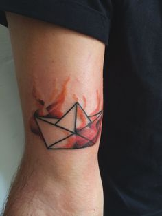 #paperboat in #flames #tattoo #ink #arm