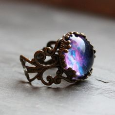 Violet Nebula Lacy Ring - Wanderlust Collection - Adjustable Ring,Valentines Day, Galaxy, Universe, Outer Space. $20.00, via Etsy.