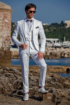 White cotton tuxedo with matched vest