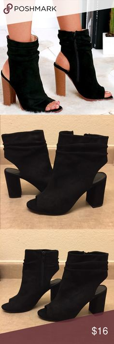 "💖Black Faux Suede Peep Toe Heels💖 All black Faux Suede peep toe heels are beautiful in very good condition. Add a boho-chic look to your collection with these superb wooden chunky heel booties.  Heel height 3 1/2"" *You are getting all black heels not my profile pic! Charlotte Russe Shoes Ankle Boots & Booties"