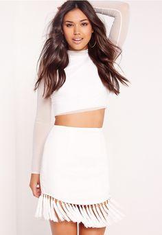 491ee490ad Tassel Hem Mini Skirt White - Missguided Tassel Skirt, Tassels, Monochrome  Fashion, White