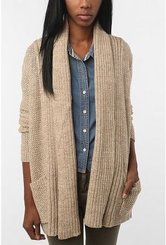 oversized sweater and a chambray shirt [urban outfitters]