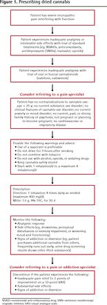 Preliminary recommendations for prescribing smoked cannabis for chronic noncancer pain- College of Family Physicians of Canada