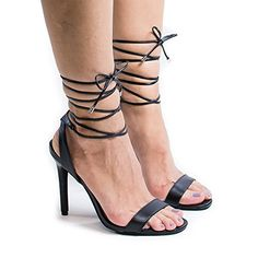Swagger01L Black Open Toe Leg Wrap Around Stiletto High Heel Dress Sandals10 ** Visit the image link more details.