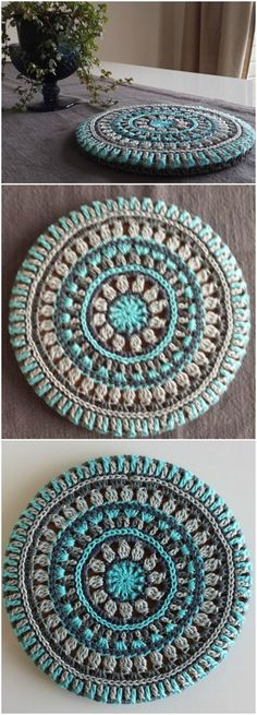 Crochet Mandala Trivet Cover - Free Crochet Mandala Patterns - Page 3 of 12 . - Crochet Mandala Trivet Cover - Free Crochet Mandala Patterns - Page 3 of 12 . Crochet Diy, Bag Crochet, Love Crochet, Crochet Gifts, Crochet Braids, Crochet Ideas, Crochet Rugs, Afghan Crochet, Diy Crochet Projects
